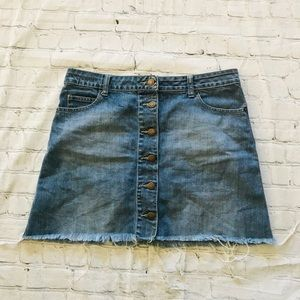Witchery Jeans Skirt distressed frayed button 10